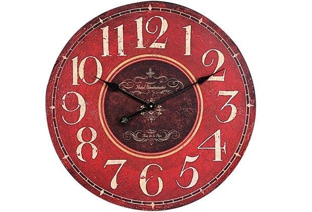Decor Objects: Large Round Red Wall Clock
