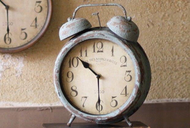 Metal Desk Clock - Antique Blue Finish - From Antiquefarmhouse.com - www.antique...
