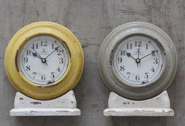 Metal Table Clock - From Antiquefarmhouse.com - www.antiquefarmho...