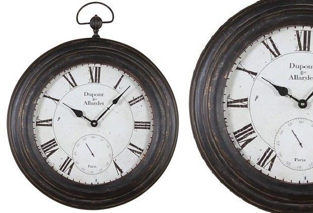 Metal Wall Clock- Antique Black Finish - From Antiquefarmhouse.com - www.antique...