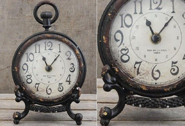 Pewter Desk Clock - Antique Black Finish - From Antiquefarmhouse.com - www.antiq...