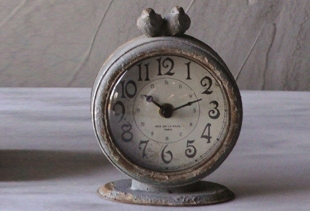 Clocks Decor Objects Pewter Table Clock Grey Table