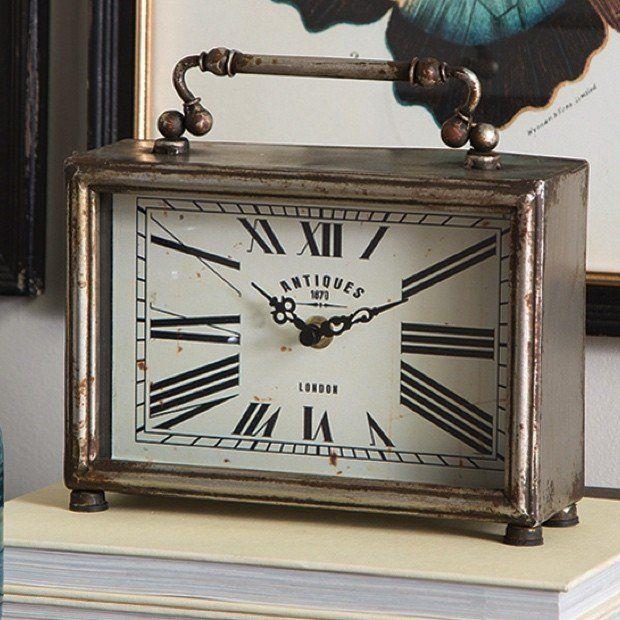 Rustic Table Clock: Decor Objects: Rustic Mantel Table Clock