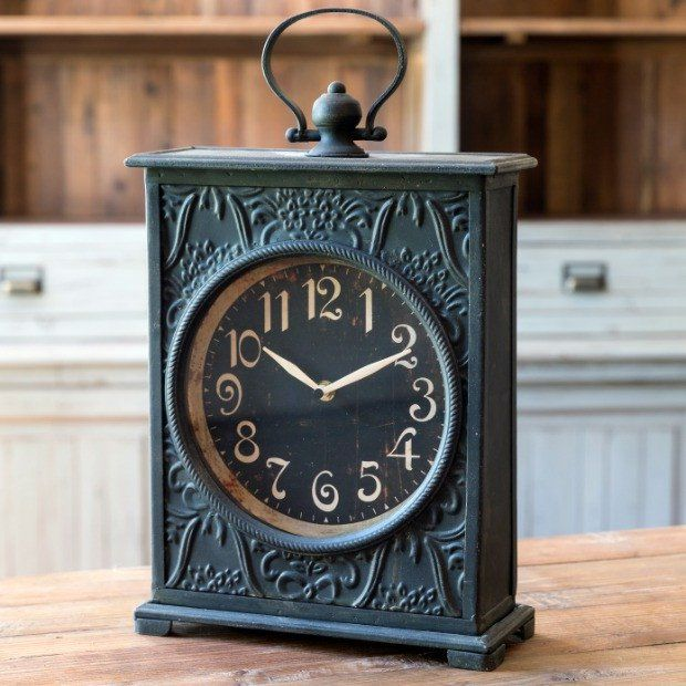Clocks Decor Objects Tall Embossed Carriage Clock