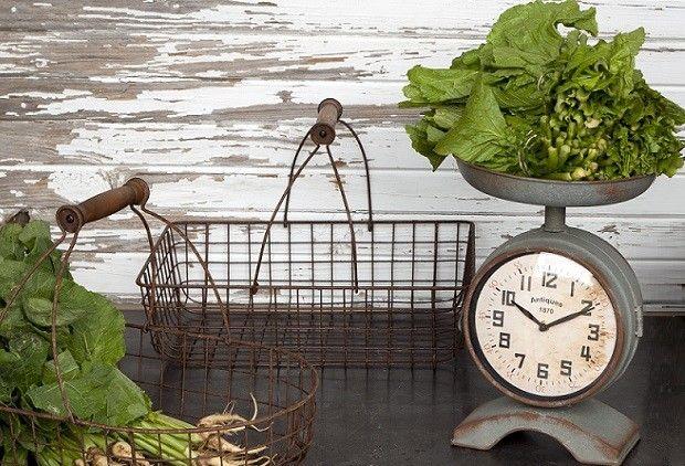 Unique Double Sided Scale Clock - From Antiquefarmhouse.com - www.antiquefarmho....