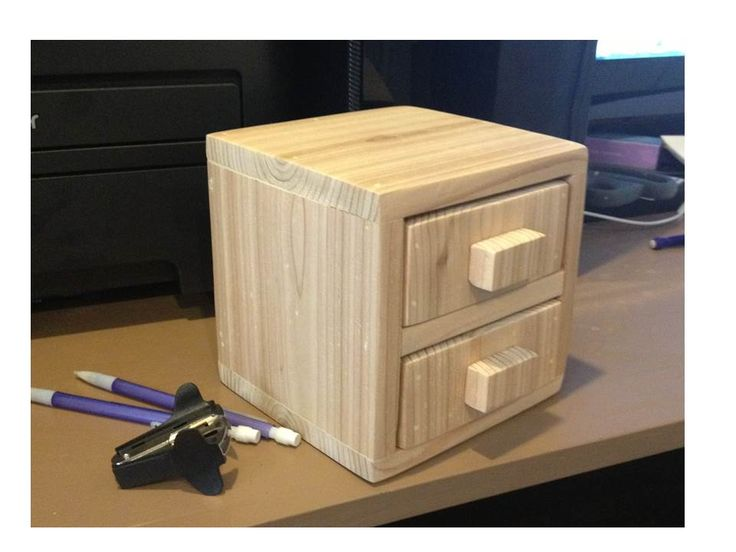 Ana White | Build a 1-Board Cedar 2-Drawer Desktop Storage Cube | Free and Easy ...