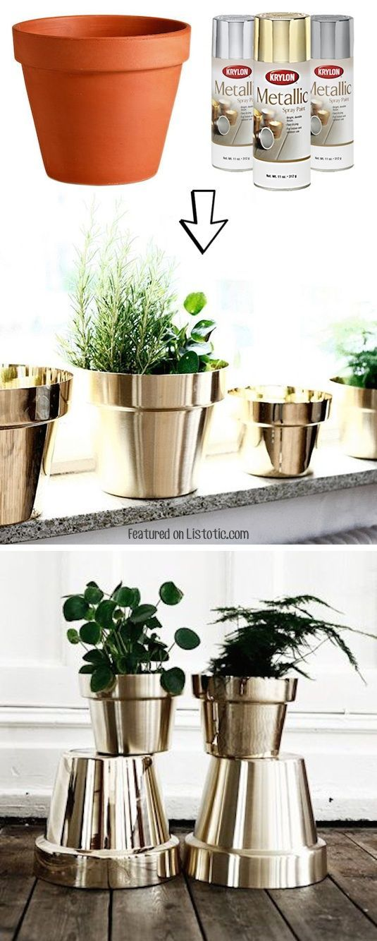 #2. Spray paint cheap terra cotta pots! Pretty! -- 29 Cool Spray Paint Ideas Tha...