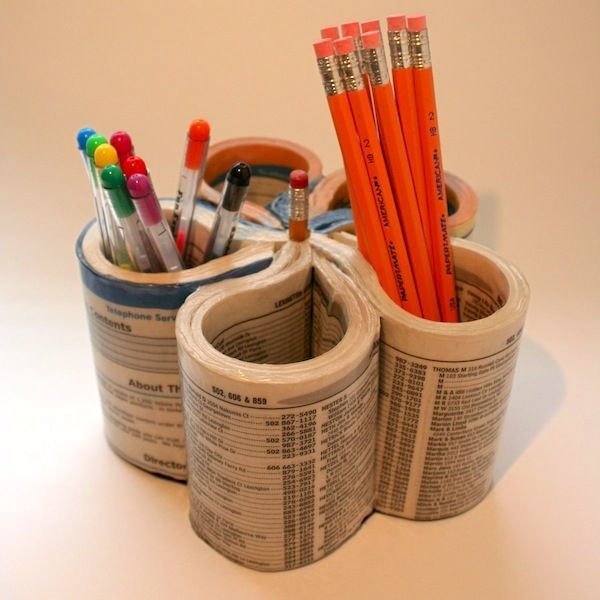 Possibly the coolest recycled pencil organizer ever - made from a phone book!