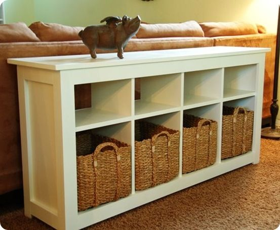 Best of Knock Off Decor: White Storage Sofa Table