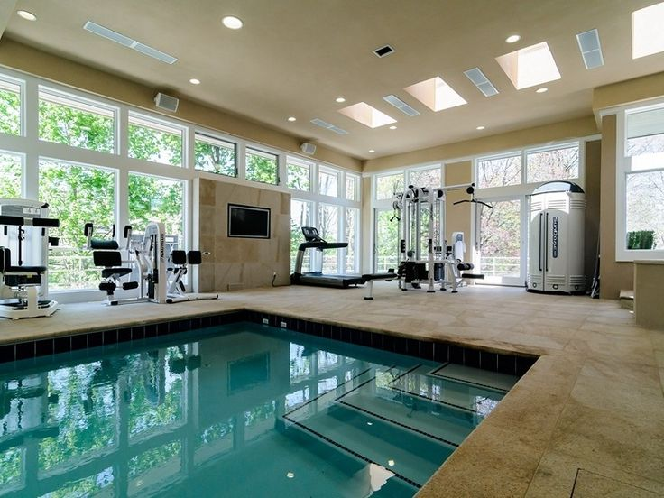 Decor pools modern home gym with sunroom and entertainment