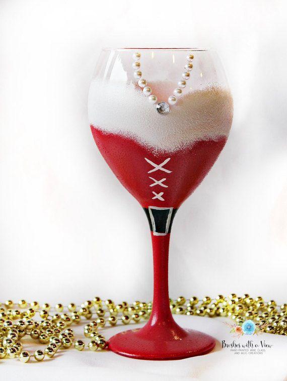 Christmas Wine Glass- Holiday wine glass-Santa Wine Glass- Unique Wine Glass…...