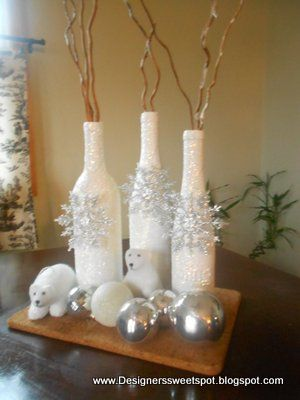 Cover Wine bottles with glue and roll in Epsom Salts. Decorate with snowflake or...
