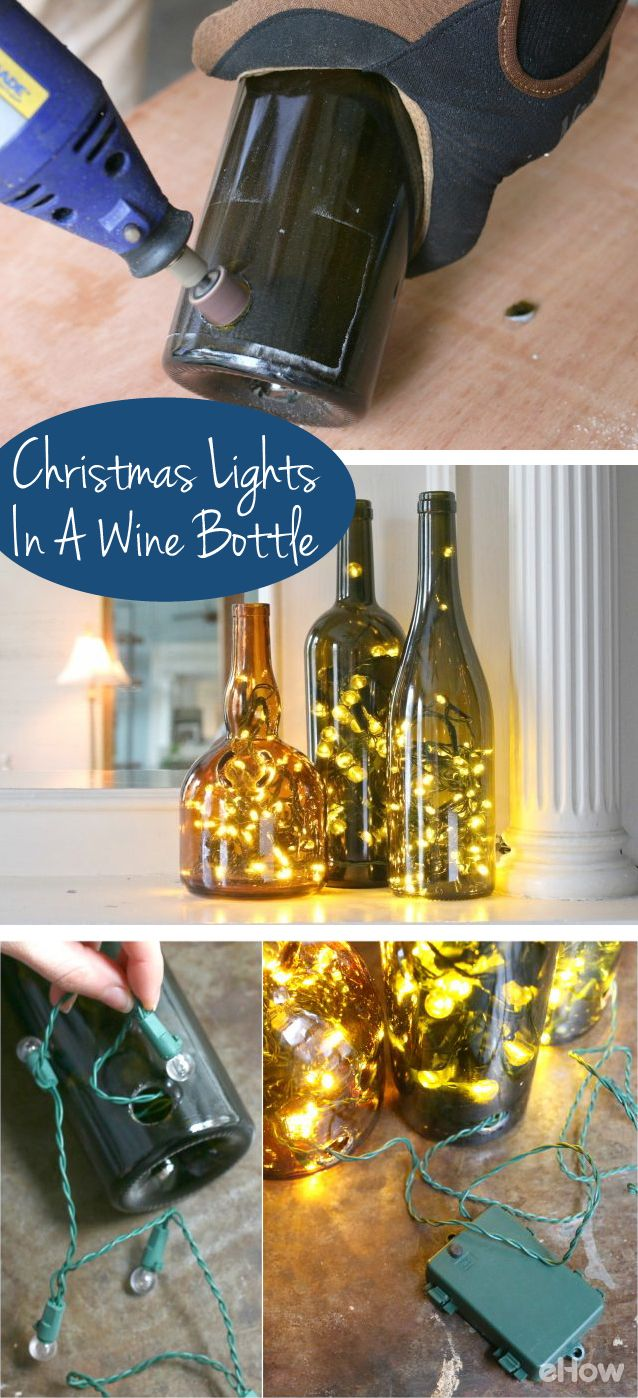 Decorative Bottles Display Christmas Lights In A Whole