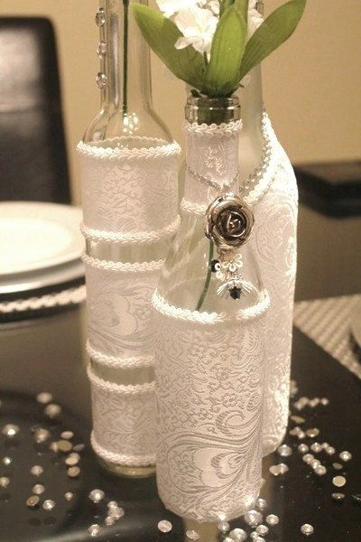 decorative bottles set 3 decorated wine bottle centerpiece white wine bottle decor wedding. Black Bedroom Furniture Sets. Home Design Ideas