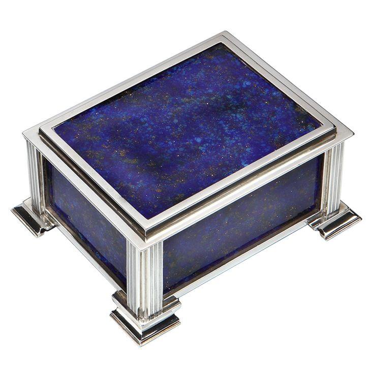 Decorative Boxes Blue Lapis Amp Silver Art Deco Box 1935