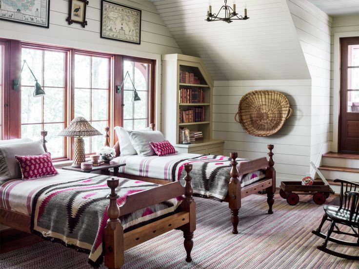 Furniture - Bedrooms : Antique-inspired rustic cabin bedroom with ...