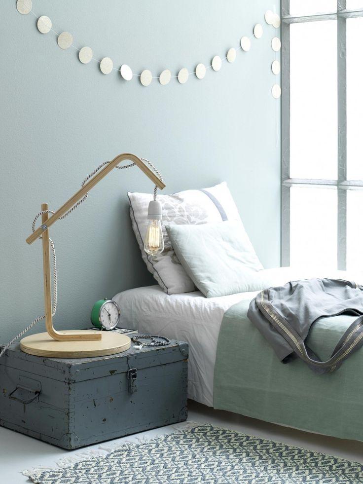 Bedside light, bedroom, bed, DIY, Ikea stool| Photographer Louis Lemaire/InsideH...