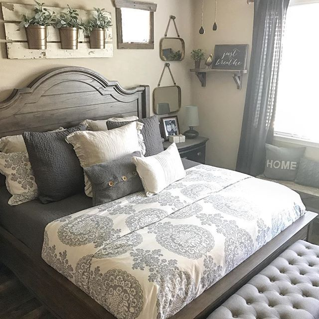 Furniture - Bedrooms : farmhouse gray and white bedroom ...