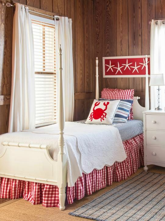 32 Best Beach House Interior Design Ideas And Decorations For 2017: Furniture - Bedrooms : Retro+beach+cottage+bedroom+in+red - Decor Object