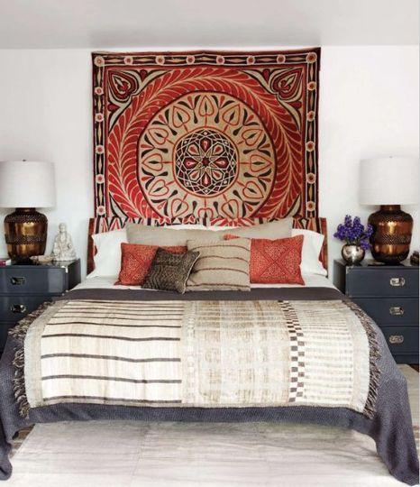 Bedrooms : Suzani Wall Hanging In Bedroom Elle