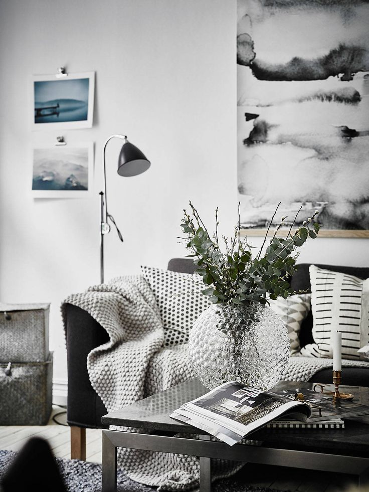 cozy Scandinavian living room in Black and white