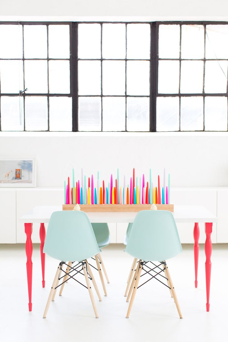 Home Decor DIY\'s : A perfectly colorful rainbow DIY taper candle ...