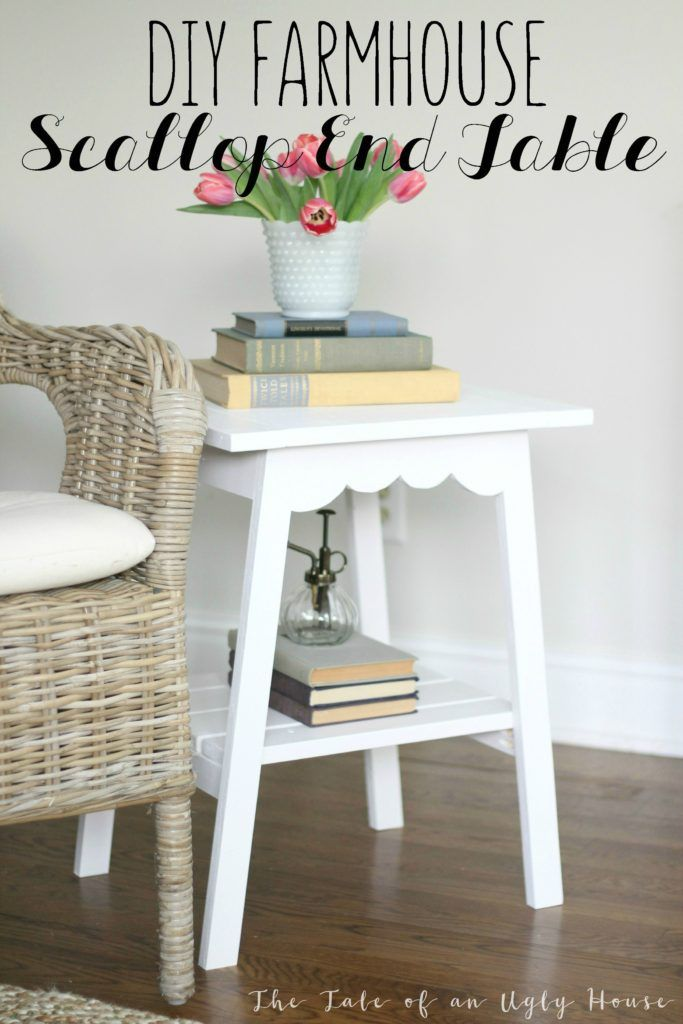 Home Decorating Diy Projects Farmhouse Style Scallop End Table Nightstand Build For Under 20