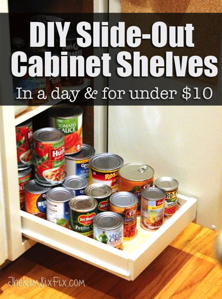How to build your own pull out cabinet shelves or drawers to help give you acces...