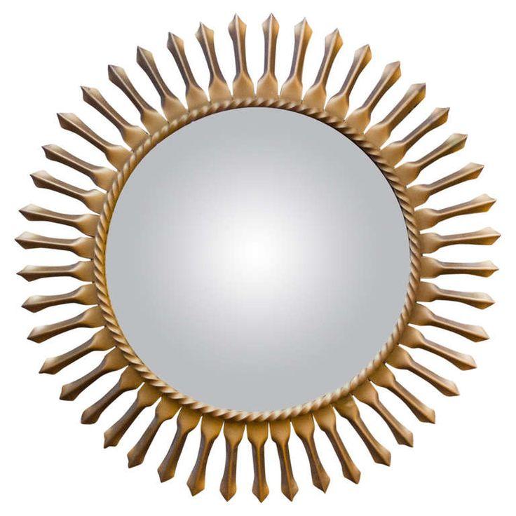 1950's Convex Sunburst Wall Mirror