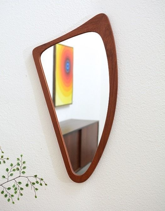 1950s Danish Modern Vintage TEAK Biomorphic Boomerang Wall Mirror Mid Century #D...