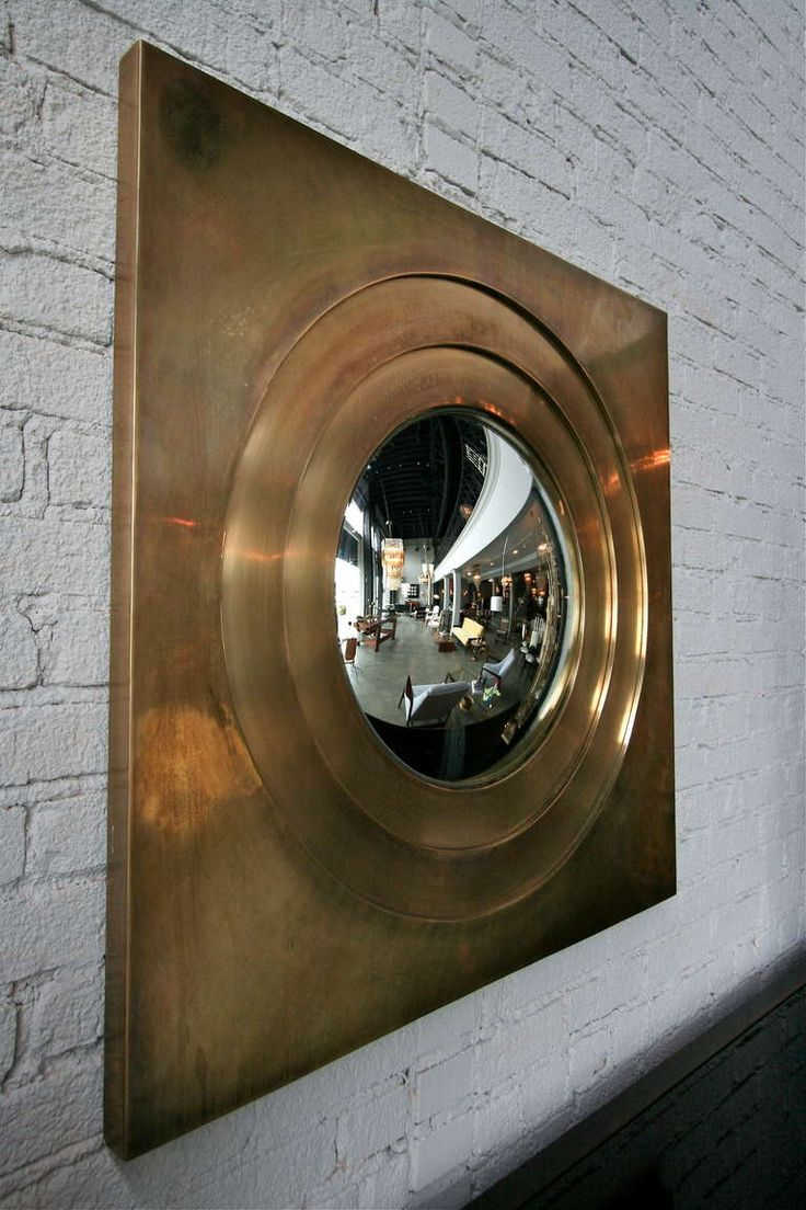 1970s Brass Convex Mirror | From a unique collection of antique and modern wall ...