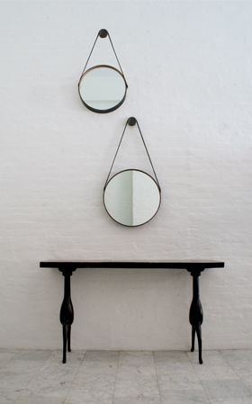 CAPTAIN'S MIRROR    DESCRIPTION  Distressed leather frame lined with wood, m...