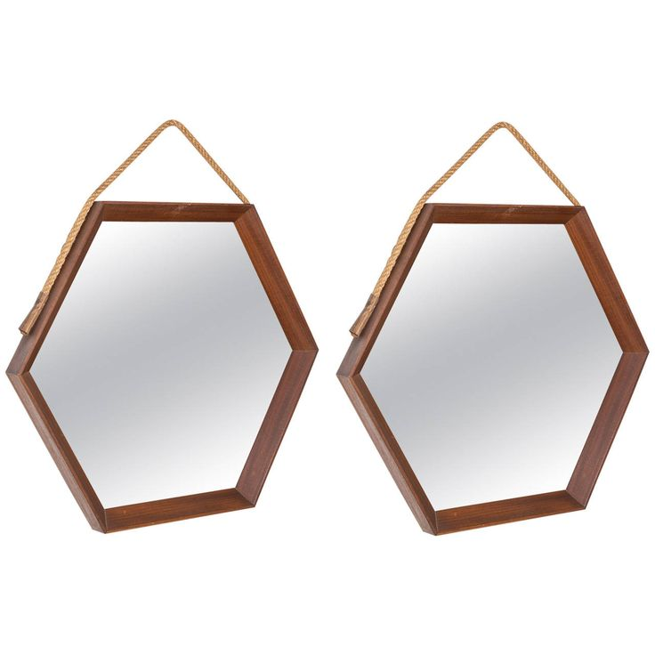 Mirrors home decor compasso pair of hexagonal teak for Decorative objects for home