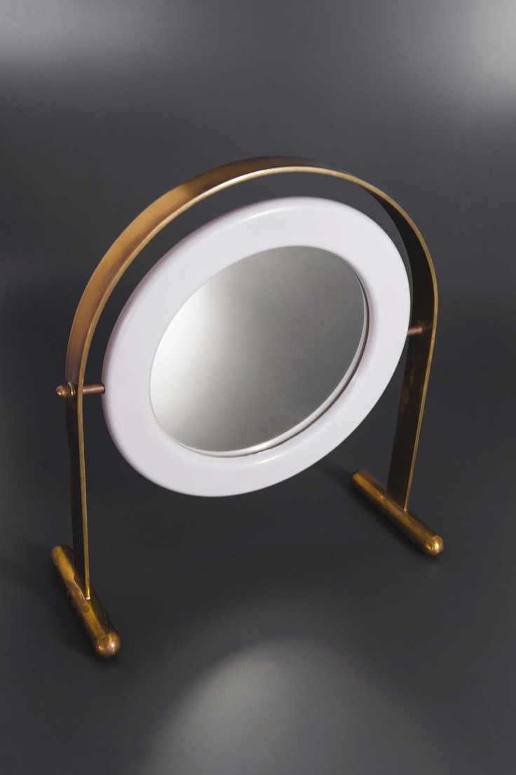 Ettore Sottsass; Brass, Lacquered Wood and Glass Table Mirror for Poltronova, c1...