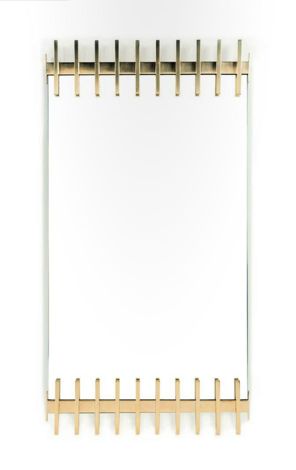 Ettore Sottsass; Glass and Brass Wall Mirror for Santambrogio and De Berti, 1957...