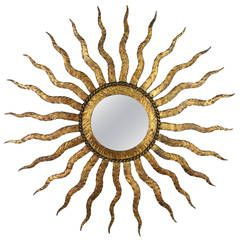 French Gilt Iron Sun Mirror in the Style of Gilbert Poillerat