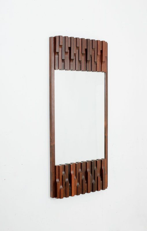 Luciano Frigerio; Rosewood and Glass Wall Mirror, 1970.