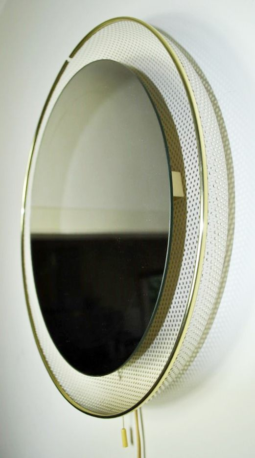 Mathieu Matégot Attributed; Enameled Metal, Brass and Glass Backlit Wall Mirror...
