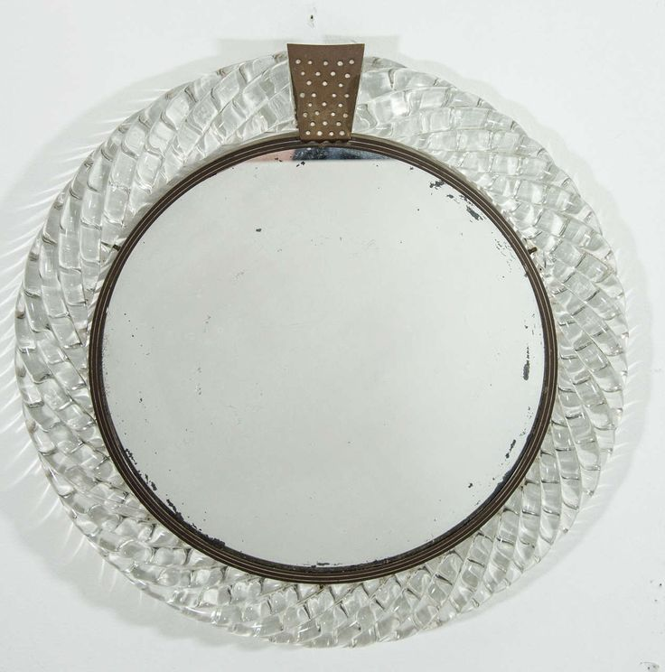 Italian Murano Art Glass and Bronze Wall or Vanity Mirror