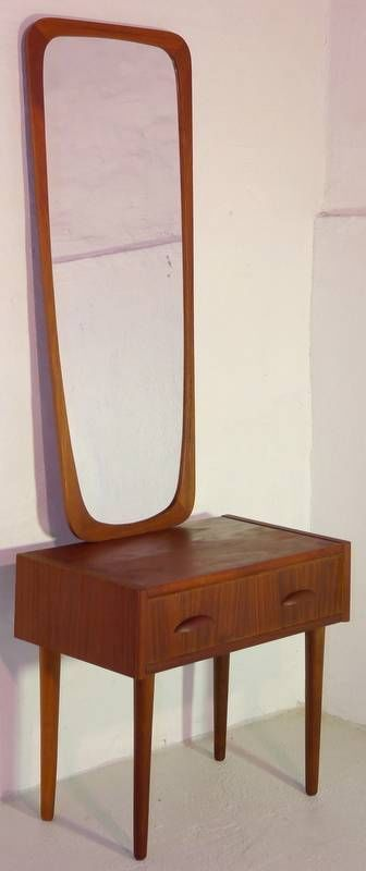 MODERN DANISH DESIGN - TEAK ENTRY TABLE + MIRROR - Panton Era #DanishModern