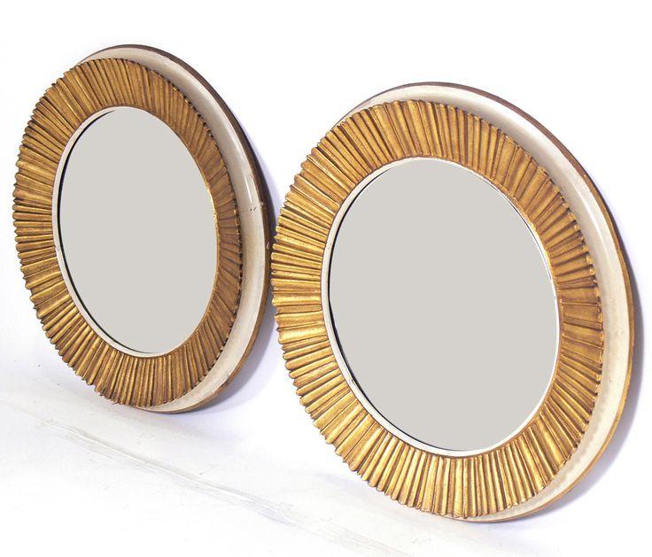 Pair Of 1stdibs 1940 Gilt Sunburst French Wall Mirrors