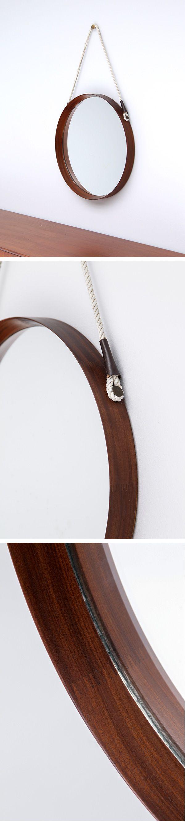 rosewood, danish, circular, mirror, rope