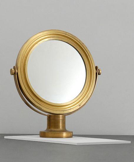 Sergio Mazza; Brass and Glass Table Mirror for Artemide, c1968.