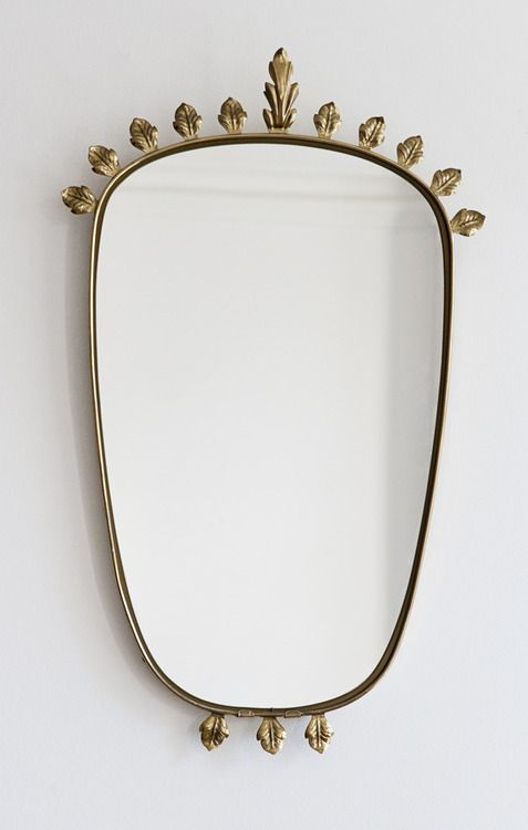 Vintage Italian brass mirror with leaf decoration