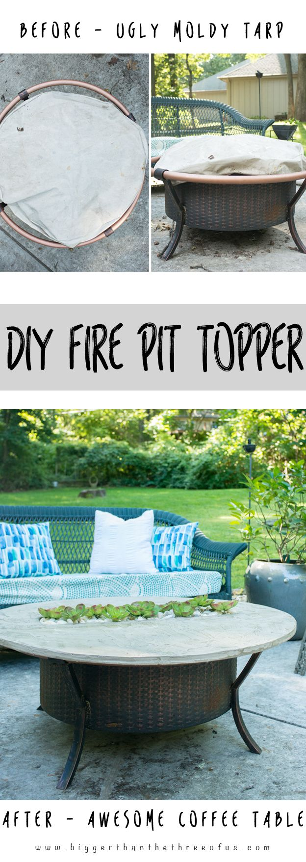 Transform that Fire Pit to an adorable coffee table when it's not in use. Fo...
