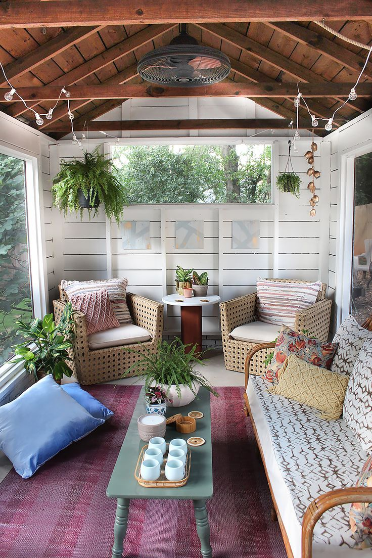 Shed Turned Boho Screened Porch