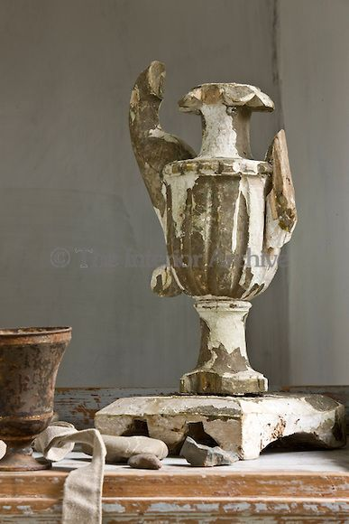 A damaged vase salvaged from an Italian church