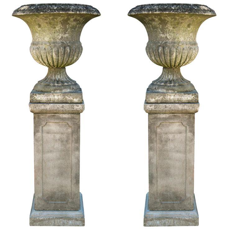 English Weathered Urns on Bases