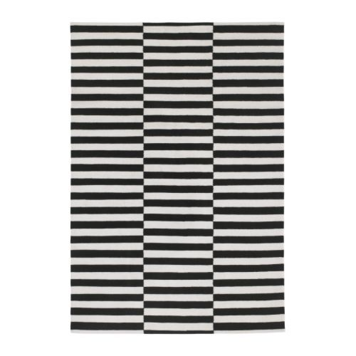 STOCKHOLM Rug, flatwoven, black handmade stripe, off-white stripe black/off-white