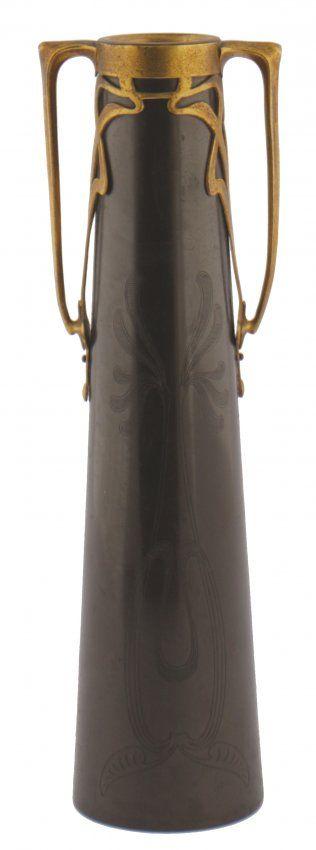 Art Nouveau bronze and gilded vase